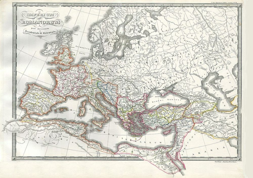 1850 Map of the Roman Empire as Divided into East and West ...